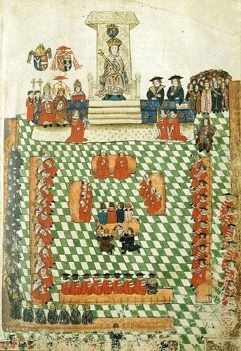 Ilustración que representaría el parlamento británico, una parte importante de la política en la edad moderna, en 1523