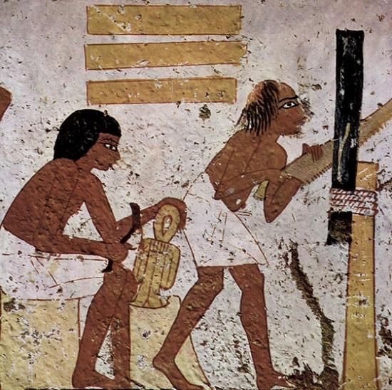 Detalle de obreros trabajando representados en la tumba de Nebamun, en Deir el-Medina