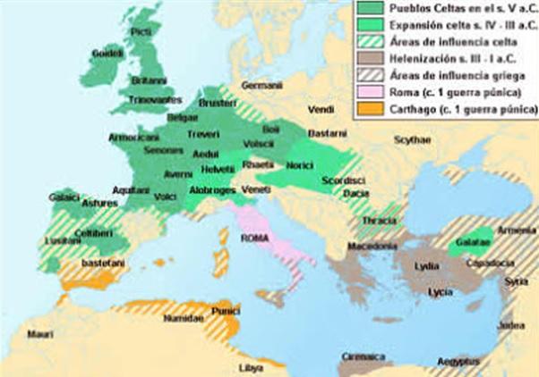 Mapa de los territorios celtas y otros pueblos del Mundo Antiguo