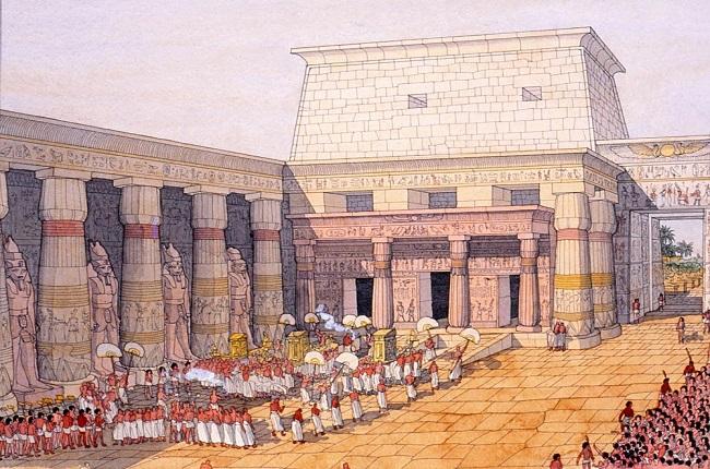 Ilustración sobre el festival de Opet en el templo de Luxor (Jean Claude Golvin)