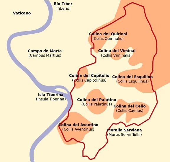 Mapa de las siete colinas de Roma, origen de la monarquía romana