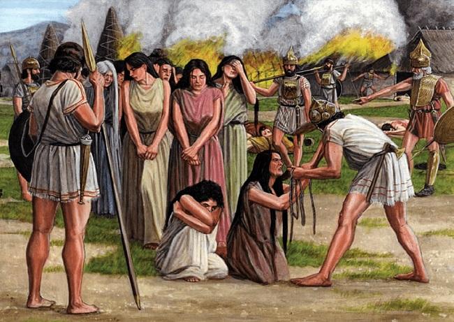 Ilustración que recrea el rapto de las Sabinas, mito fundacional de los reyes romanos
