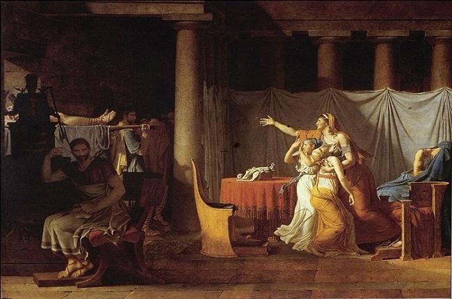 Los lictores llevan a Bruto los cuerpos de sus hijos, obra de Jacques Louis David sobre las magistraturas romanas