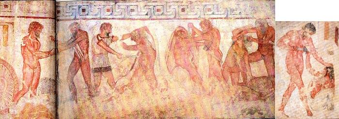 Esta escena de la tumba etrusca de François de Vulci (a mediados del s. IV a.C.) representa el enfrentamiento entre los reyes romanos Servio Tulio y los Tarquinios