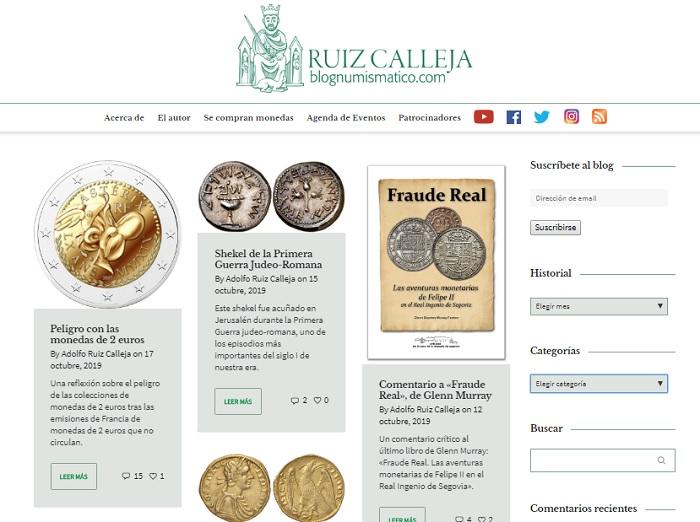 Captura de pantalla del blog Numismático