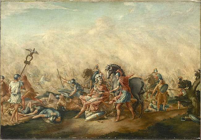 La muerte del cónsul Lucio Emilio Paulo en la batalla de Cannas, según un cuadro de John Trumbull (1773) sobre este puesto del cursus honorum