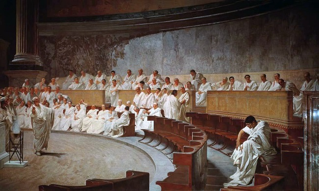 Obra del siglo XIX en el que se recrea una sesión del Senado romano