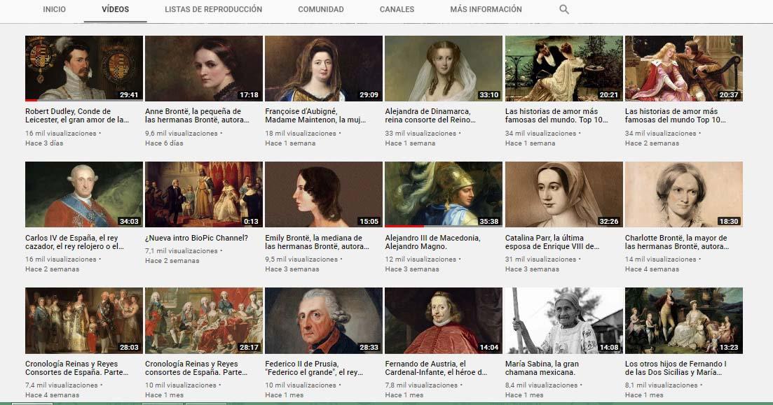 Captura de pantalla del canal Biopic Channel, uno de los canales de Historia en Youtube