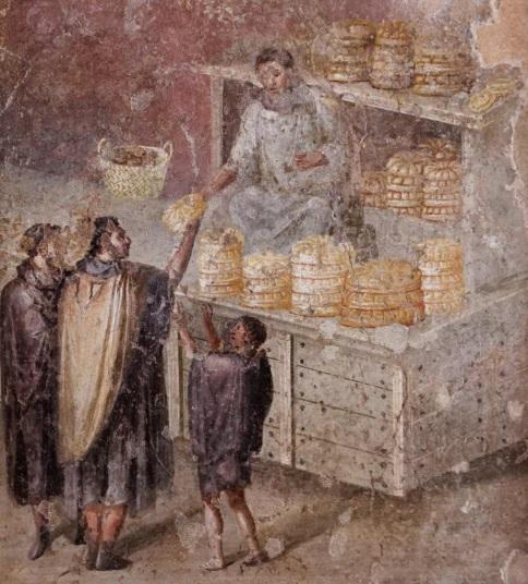 Fresco romano hallado en Pompeya en el que se representa a plebeyos romanos comprando el pan