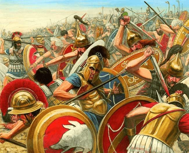 Ilustración que recrea la batalla del río Alia, en el contexto del conflicto patricio-plebeyo
