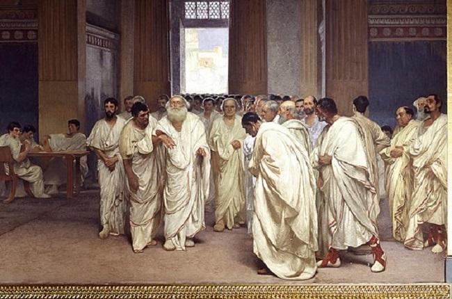 Vista en detalle de una obra del siglo XIX en la que se representa la llegada del censor Apio Claudio el ciego al Senado romano