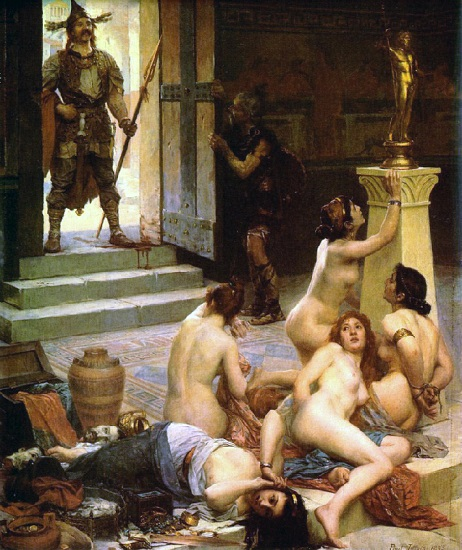 """""""Brenno y su parte del botín"""", pintura de Paul Jamin realizada a finales del XIX que recrea la invasión de los galos"""