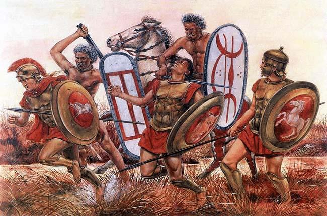 Ilustración que recrea la batalla de Alia, previa a la invasión de los galos, por Richard Hook