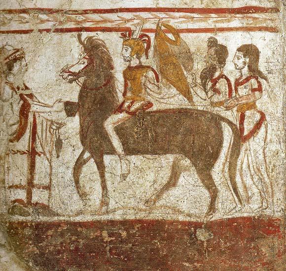 Fresco de una tumba de mediados del siglo IV a.C. en Paestum en la que sale representado un jinete lucano, aliado de Tarento