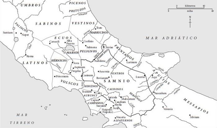Mapa de Italia central y meridional hacia el 350 a.C., cerca de la guerra latina contra la Liga Latina