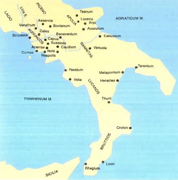 Mapa de las principales ciudades del sur de Italia, escenario de las Guerras Pírricas