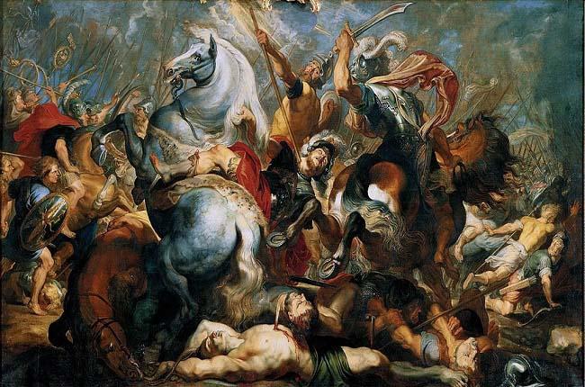 Obra del siglo XVII que recrea la batalla de Trifanum, dentro de la guerra latina contra la liga latina