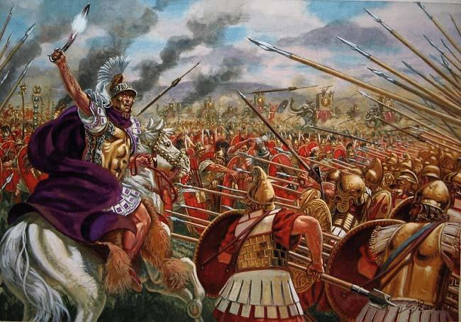 Ilustración que recrea a Pirro de Epiro luchando en plena batalla de Ásculo, de las Guerras Pírricas