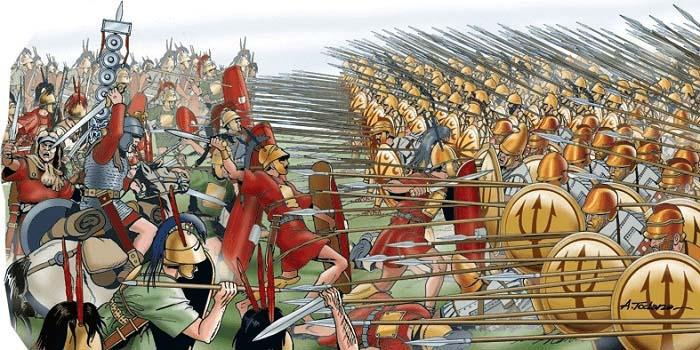 Ilustración que recrea el choque entre la falange epirota y las legiones romanas en las Guerras Pírricas
