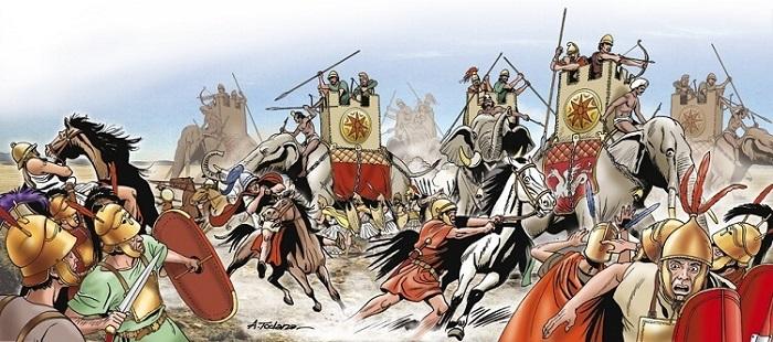 Ilustración que recrea la batalla de Heraclea, de las Guerras Pírricas