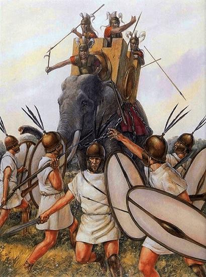 Ilustración que recrea la carga de los elefantes en plena batalla de Ásculo, de las Guerras Pírricas