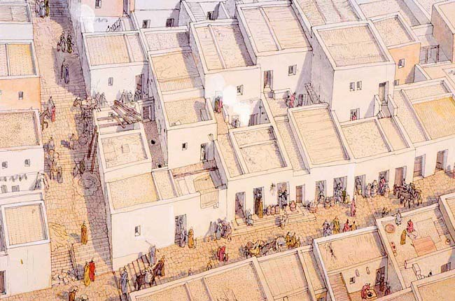 Ilustración que recrea la vida cotidiana en las casas y calles de Cartago