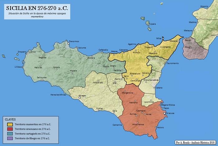Mapa de los distintos dominios de la isla después del paso de Pirro en Sicilia