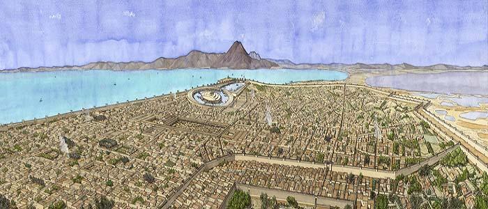 Panorámica que recrea el aspecto global de la ciudad de Cartago, uno de los focos de las batallas terrestres de la Primera Guerra Púnica