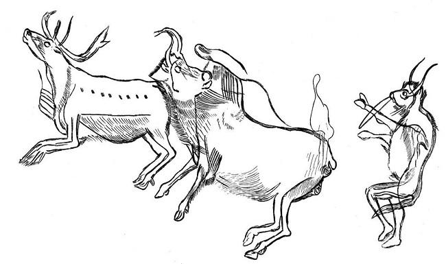 Fragmento de las pinturas paleolíticas de la gruta de Les Trois Frères, origen remoto de la medicina griega