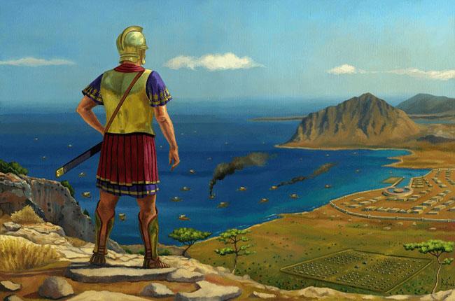 Ilustración que recrea a Amílcar Barca en Sicilia después de las grandes batallas navales de la Primera Guerra Púnica