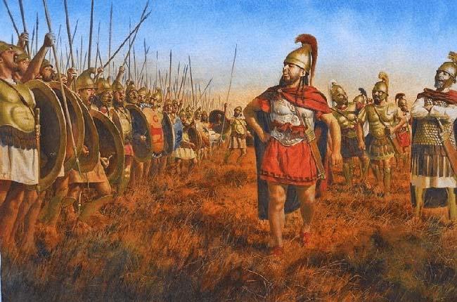 Ilustración que recrea a Jántipo el espartano adiestrando al ejército cartaginés para las batallas terrestres de la Primera Guerra Púnica