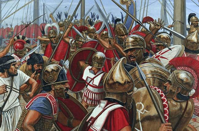Ilustración que recrea el abordaje romano de una nave cartaginesa durante una batalla naval de la Primera Guerra Púnica