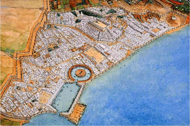 Ilustración que recrea el aspecto de la ciudad de Cartago, uno de los bandos en las Guerras Púnicas