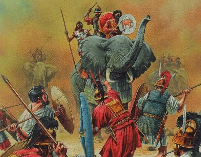 Ilustración que recrea la carga de los elefantes durante la batalla de los Llanos de Bagradas, una de las importantes batallas terrestres de la Primera Guerra Púnica