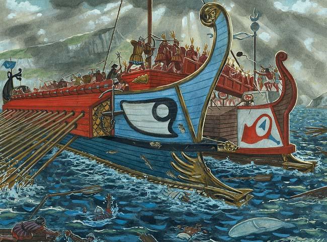 Ilustración que recrea la batalla naval de las islas Égates, una de las mayores batallas navales de la Primera Guerra Púnica
