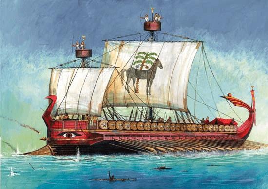 Ilustración que recrea un trirreme cartaginés como los usados en la Primera Guerra Púnica