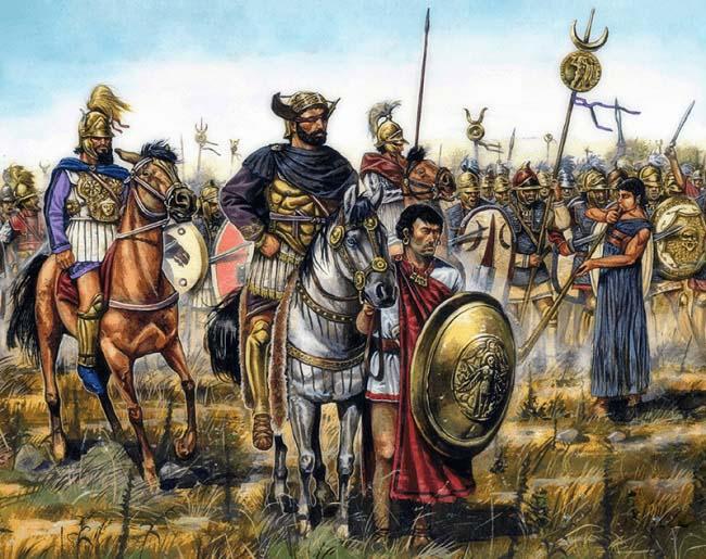 Ilustración que representa a Aníbal Barca antes de la batalla de Cannas, durante las Guerras Púnicas