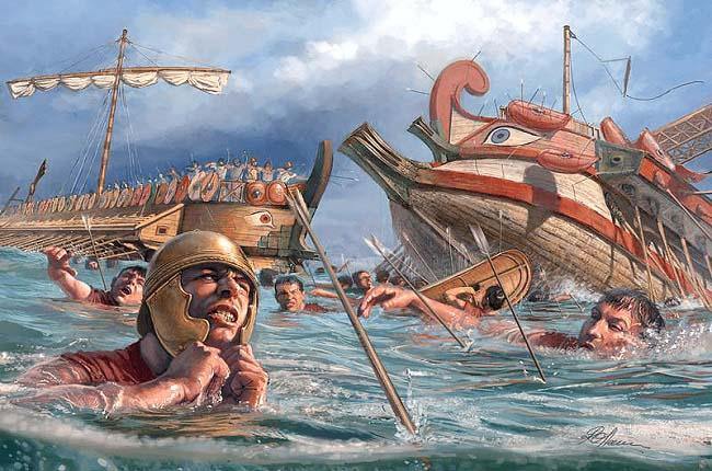 Ilustración que representa las consecuencias de la batalla de Ecnomo, la mayor de las batallas navales de la Primera Guerra Púnica