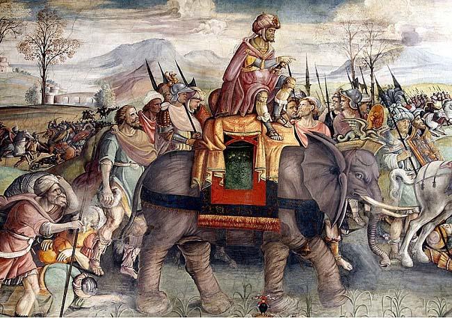 Parte de un fresco del Palazzo del Campidoglio (1510) que representa a Aníbal cruzando los Alpes durante las Guerras Púnicas