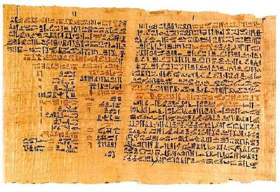 Una de las partes conservadas del Papiro Ebers, antecedente a la medicina griega