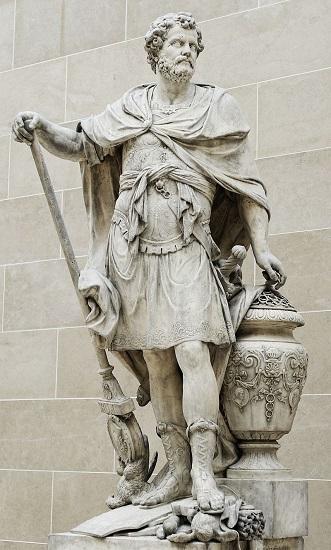 Aníbal contando los anillos de los caballeros romanos caídos en la batalla de Cannas (216 a. C.), su gran victoria. De nada le sirvió ante su derrota en la batalla de Zama