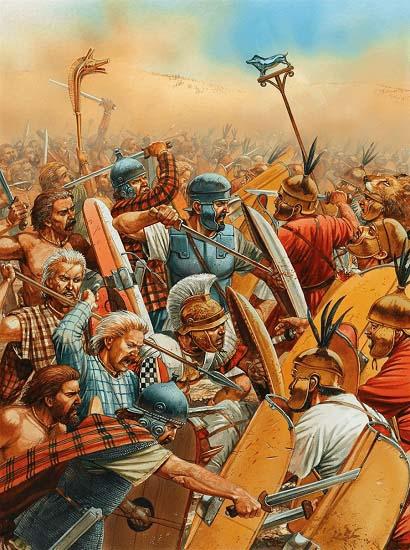 Ilustración que recrea el choque central de la batalla de Cannas: los infantes hispanos y celtas dirigidos por Aníbal y Magón Barca contra los legionarios romanos