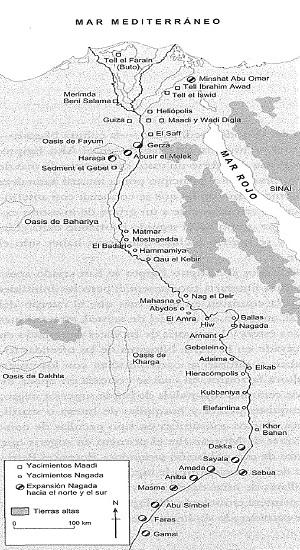 Mapa que muestra los principales yacimientos arqueológicos del predinástico egipcio: la civilización de Nagada y la cultura maadiense