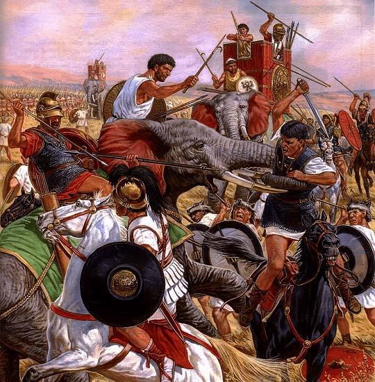 Carga de los elefantes púnicos durante la batalla de Ilipa, una de las grandes batallas de Escipión el Africano