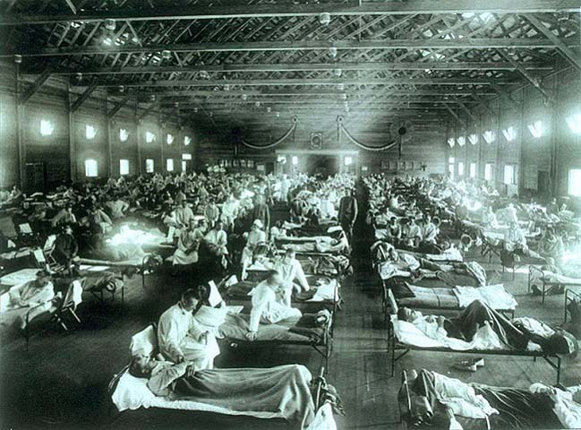 Hospital de emergencia instalado en el campamento militar de Funston