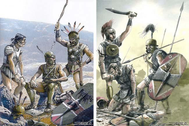 Ilustración que recrea a soldados de ambos bandos en la batalla de Baecula, una de las grandes batallas de Escipión el Africano