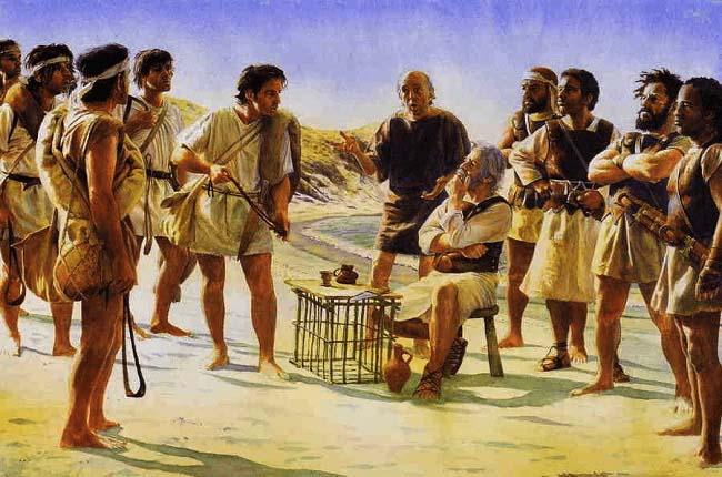 Ilustración que recrea el reclutamiento de honderos de las islas Baleares por parte de Magón Barca durante el invierno del 205 a.C.