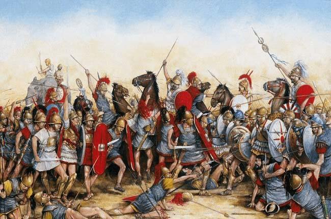 Ilustración que recrea la batalla de Zama, en el 202 a.C.