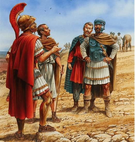 Ilustración que recrea la entrevista que tuvieron Aníbal Barca y Escipión el Africano antes de enfrentar sus estrategias en el mapa de la batalla de Zama (202 a.C.)