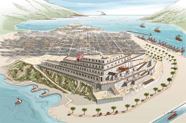 Ilustración que recrea el palacio principal de los púnicos en la ciudad de Qart Hadashat, destruido por Escipión el Africano